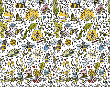 Abstract floral pattern with bees, sketch for your design. Vector illustration