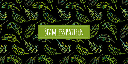 Green leaves, seamless pattern for your design. Vector illustration