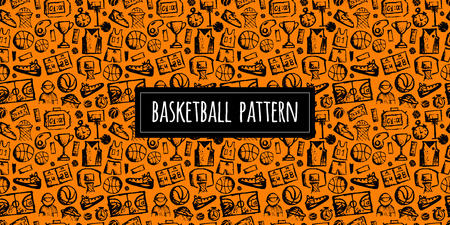 Basketball seamless pattern, sketch for your design. Vector illustration