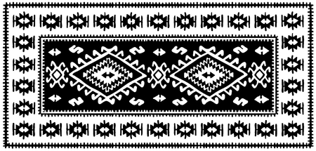 Black oriental mosaic rug with traditional folk geometric ornamen. Vector illustration