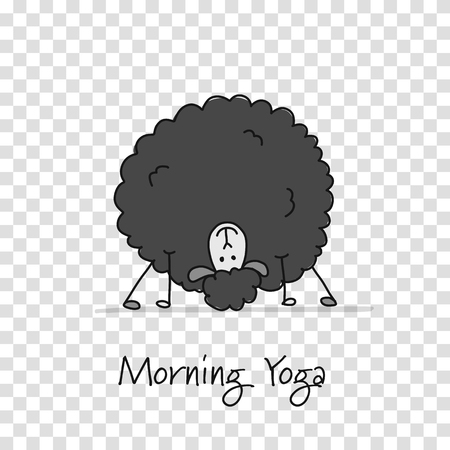 Funny sheep doing yoga, sketch for your design. Vector illustration Stock Photo