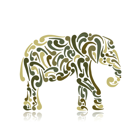 Elephant ornate, sketch for your design. Vector illustration Foto de archivo - 104873575