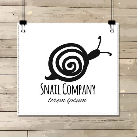 Funny snail, black silhouette for your design. Vector illustration Illustration