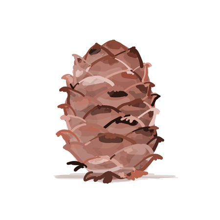 Cedar cone, sketch for your design. Vector illustration Фото со стока