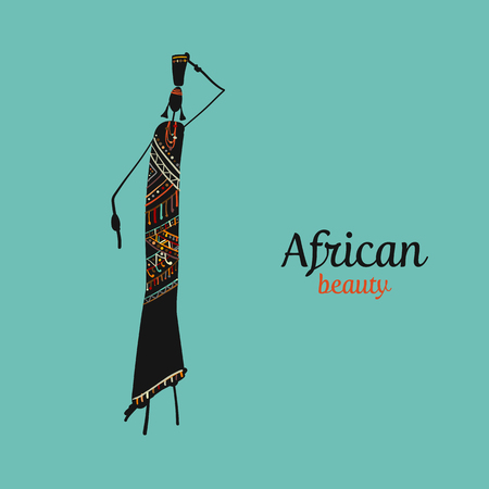 African woman with jug, ornate sketch for your design. Vector illustration