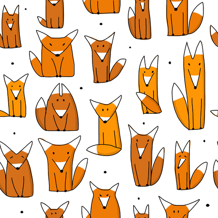 Funny foxes, seamless pattern for your design. Vector illustration