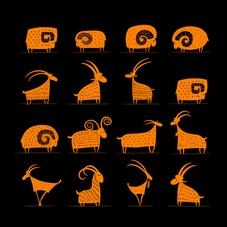 Goats and rams collection for your design. Vector illustration