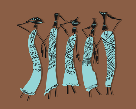 African women with jugs, ornate sketch for your design. Vector illustration