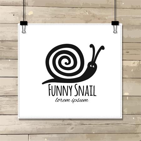 Funny snail, black silhouette for your design Reklamní fotografie - 105130939