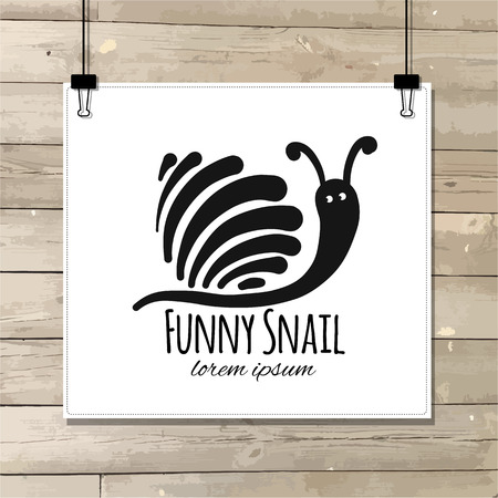 Funny snail, black silhouette for your design 写真素材 - 105130941
