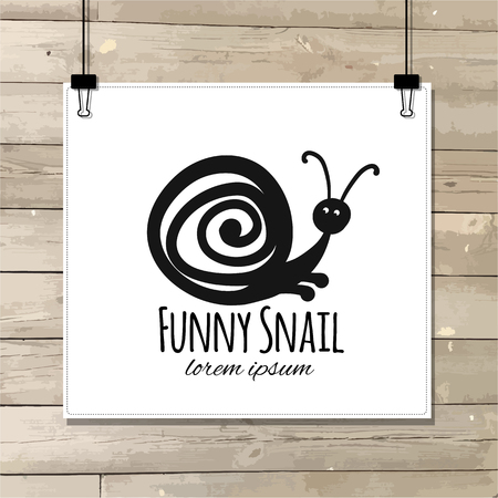 Funny snail, black silhouette for your design. Vector illustration Ilustração
