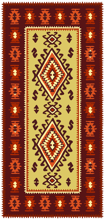 Colorful oriental mosaic rug with traditional folk geometric ornamen. Vector illustration