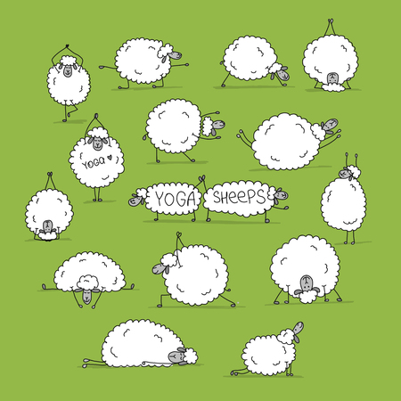Funny sheep doing yoga, sketch for your design. Vector illustration Illustration
