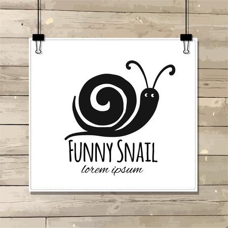 Zabawny ślimak, czarna sylwetka do projektowania. Ilustracja wektorowa