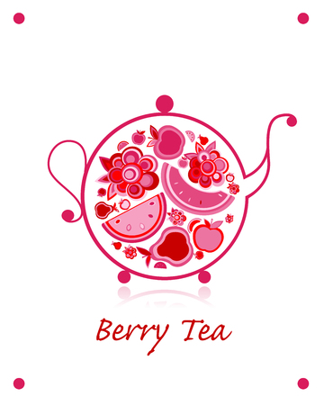 Teapot sketch with fruit and berries tea for your design. Vector illustration Foto de archivo - 104916345