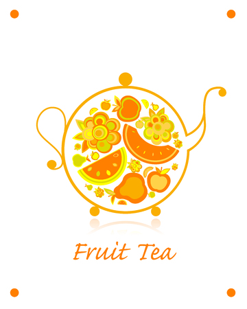 Teapot sketch with fruit and berries tea for your design. Vector illustration Stok Fotoğraf