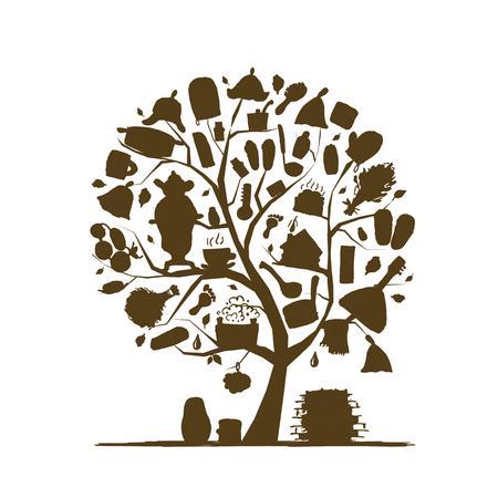 Russian sauna, art tree sketch for your design. Vector illustration 向量圖像