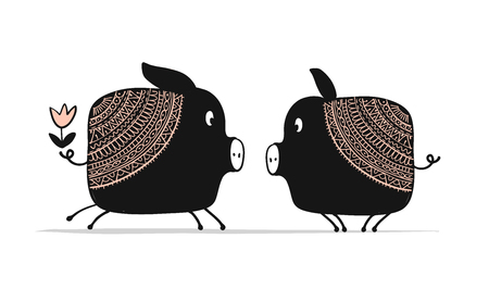 Cute couple of pigs, symbol of 2019 for your design Ilustração