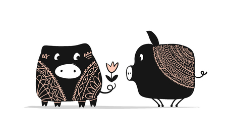 Cute couple of pigs, symbol of 2019 for your design Illustration