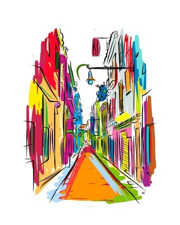 Old European street, sketch for your design