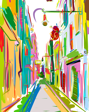Old european street, sketch for your design. Vector illustration Ilustração