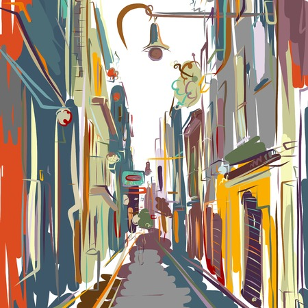 Old european street, sketch for your design. Vector illustration Ilustracja