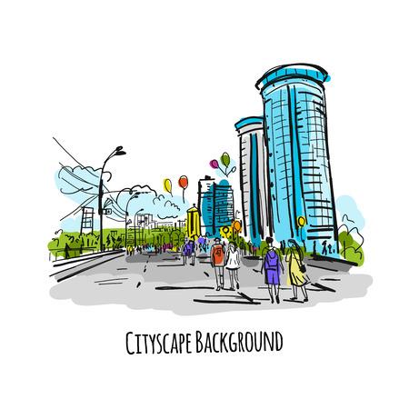 Sketch of city street for your design. Vector illustration Banque d'images - 114784570