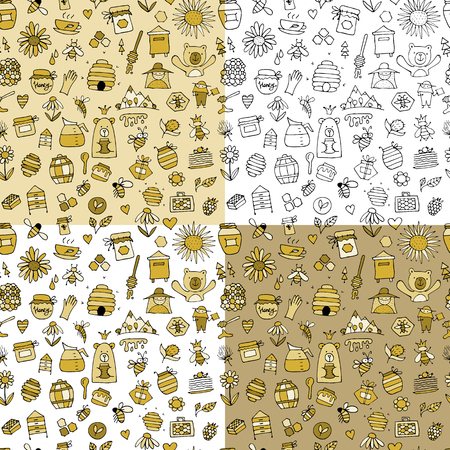 Rucher de miel, modèle sans couture. Esquisse pour votre conception. Illustration vectorielle