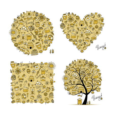 Honey set - frame, tree, heart. Sketch for your design