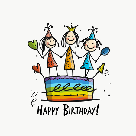 Birthday cake with girls, postcard for your design