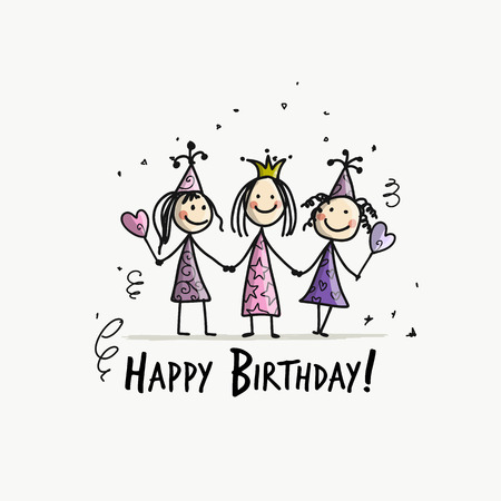 Birthday party, funny girls for your design. Vector illustration