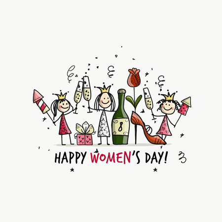 8 march, international womens day. Pretty girls with drinks for your design