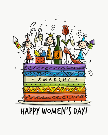 8 march, international womens day. Cake with pretty girls for your design