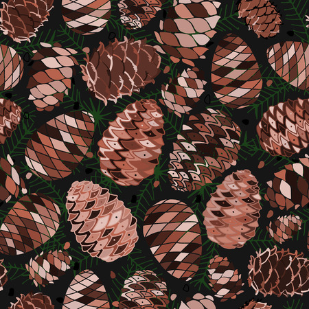 Cedar cones, seamless pattern for your design. Vector illustration