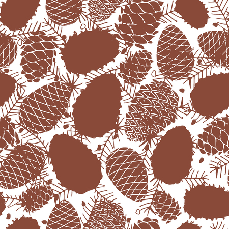 Cedar cones, seamless pattern for your design. Vector illustration Standard-Bild - 114725510