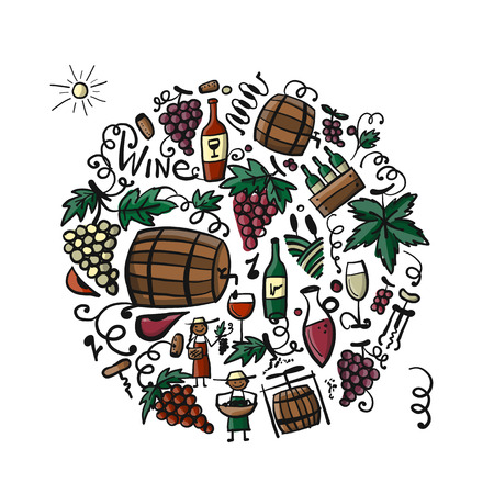 Winery set, background for your design Stock Vector - 105383379