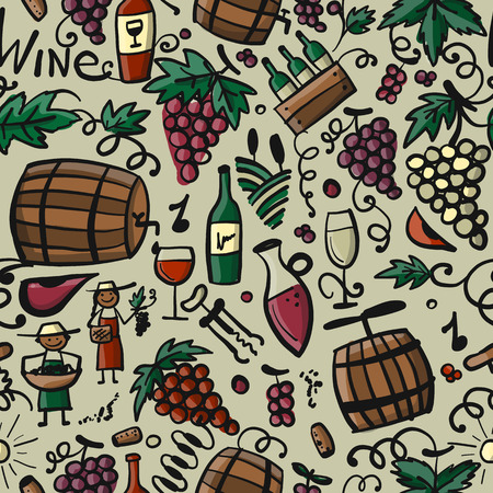 Winery, seamless pattern for your design Stock Vector - 105383377