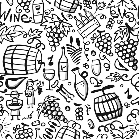Winery, seamless pattern for your design. Vector illustration