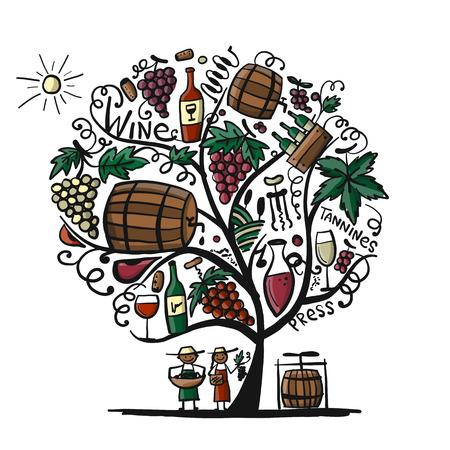 Wine tree, sketch for your design. Vector illustration Illustration