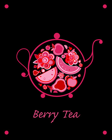 Teapot sketch with fruit and berries tea for your design. Vector illustration Illustration