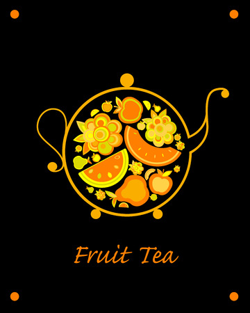 Teapot sketch with fruit and berries tea for your design. Vector illustration Çizim