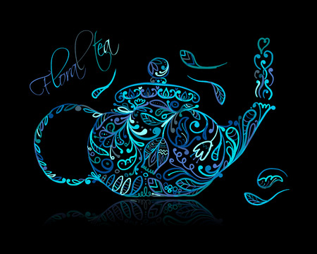 Teapot sketch with floral tea for your design