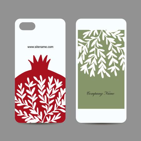 Mobile phone design, pomegranate background. Vector illustration