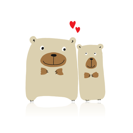 Funny bears family, sketch for your design. Vector illustration