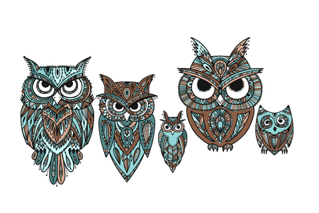 Ornate owl, zenart for your design 矢量图像
