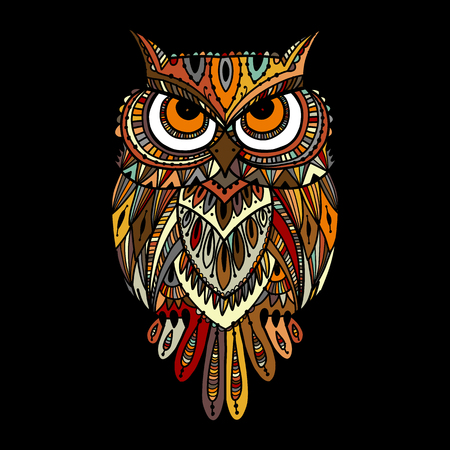 Ornate owl, zenart for your design Vettoriali