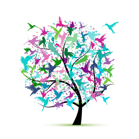 Hummingbird tree, sketch for your design Standard-Bild - 105839675