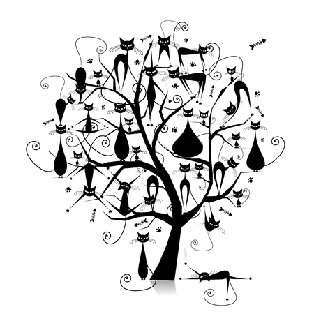 Black cats on tree branches, silhouette for your design