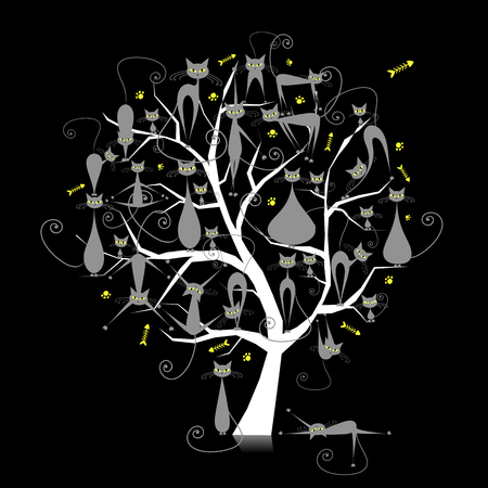 Ginger cats on tree branches, silhouette for your design