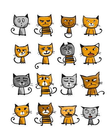 Cats collection, sketch for your design. Vector illustration